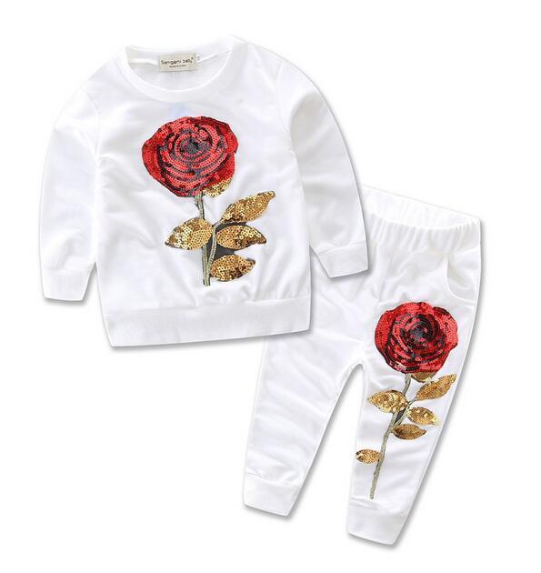 653a23d7f Otoño niños ropa camisetas de manga larga + pantalones con lentejuelas  flores color de rosa ropa