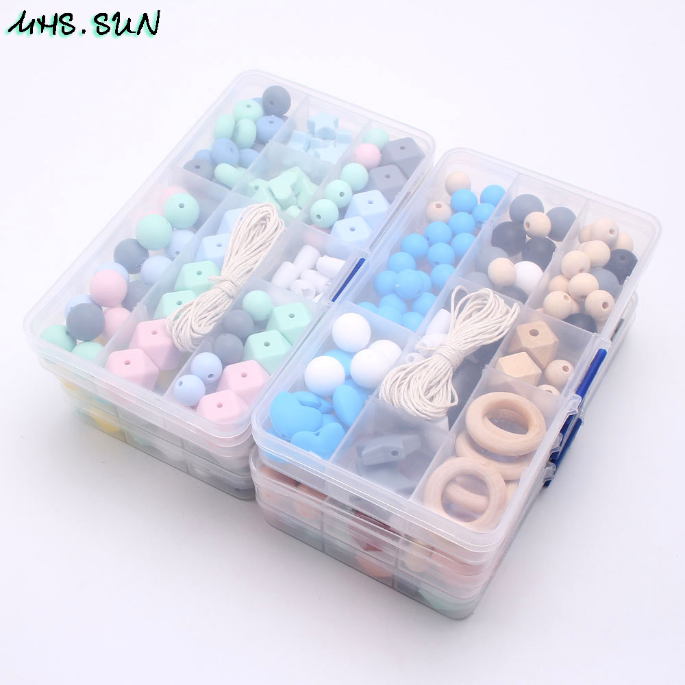 MHS.SUN Hot Silicone Beads Set Baby Teething Beads Food Grade Teether Kits Accessories Diy Chewable Jewelry Pacifier Chain