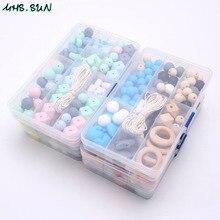 MHS.SUN ensemble de perles de dentition en Silicone pour bébé, perles de qualité alimentaire, Kits de dentition bricolage à mâcher, sucette, chaîne