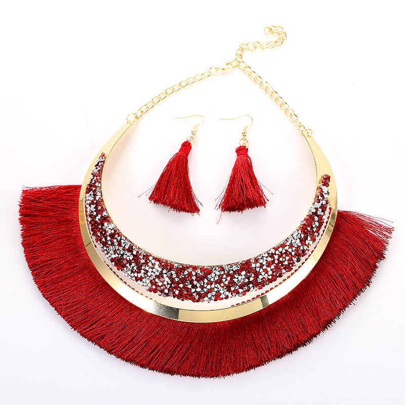 KMVEXO Bohemian Ethnic Rhinestone Tassel Necklace Earrings Set 2019 New Sweater Chain Women Clothing Vintage Crystal Jewelry Set