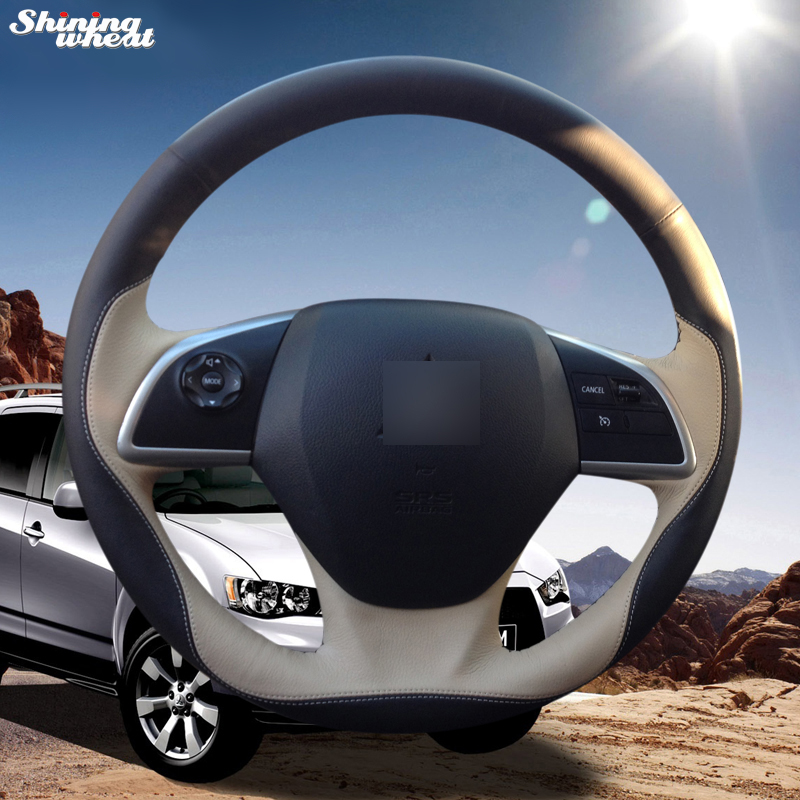 Shining wheat Hand-stitched Black Beige Leather Steering Wheel Cover for Mitsubishi Outlander 2013 2014 Mirage 2014 ASX steering wheel cover for mitsubishi outlander 2013 2014 mirage 2014 asx l200 2015 2016 braid on the steering wheel