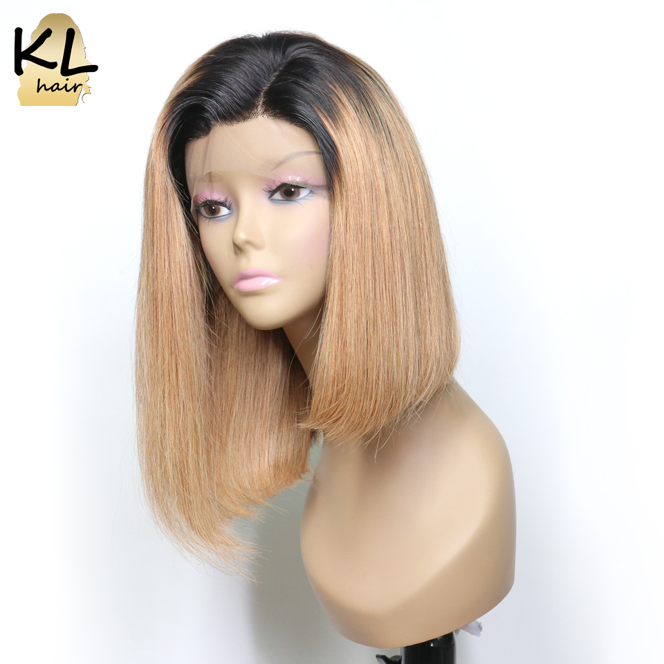 1B 27 Lace Front Human Hair Wigs For Black Women Brazilian Remy Hair Ombre Color Straight
