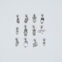 Mix 24pcs Vintage silver plated  Metal owl Charms owl pendant for DIY jewelry  making mix 30pcs vintage silver plated metal key charms key pendant for diy jewelry making