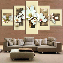 Wall Art Botanical Pictures Painting White Lily Bouquet of Flowers Oil Floral Artwork Print on Wrapped Canvas for Walls
