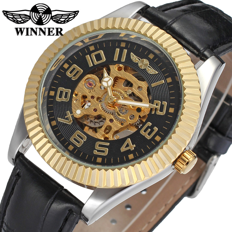 Fashion WINNER Men Luxury Brand Gold Skeleton Genuine Leather Watch Automatic Mechanical Wristwatches Gift Box Relogio Releges fashion winner men luxury brand business skeleton leather strap watch automatic mechanical wristwatches gift box relogio releges