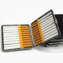 حافظة سجائر جلدية شخصية الإبداعية 20 العصي مع شريط مطاطي علبة هدية براون حافظة حامل جلد معدني يحمل السجائر