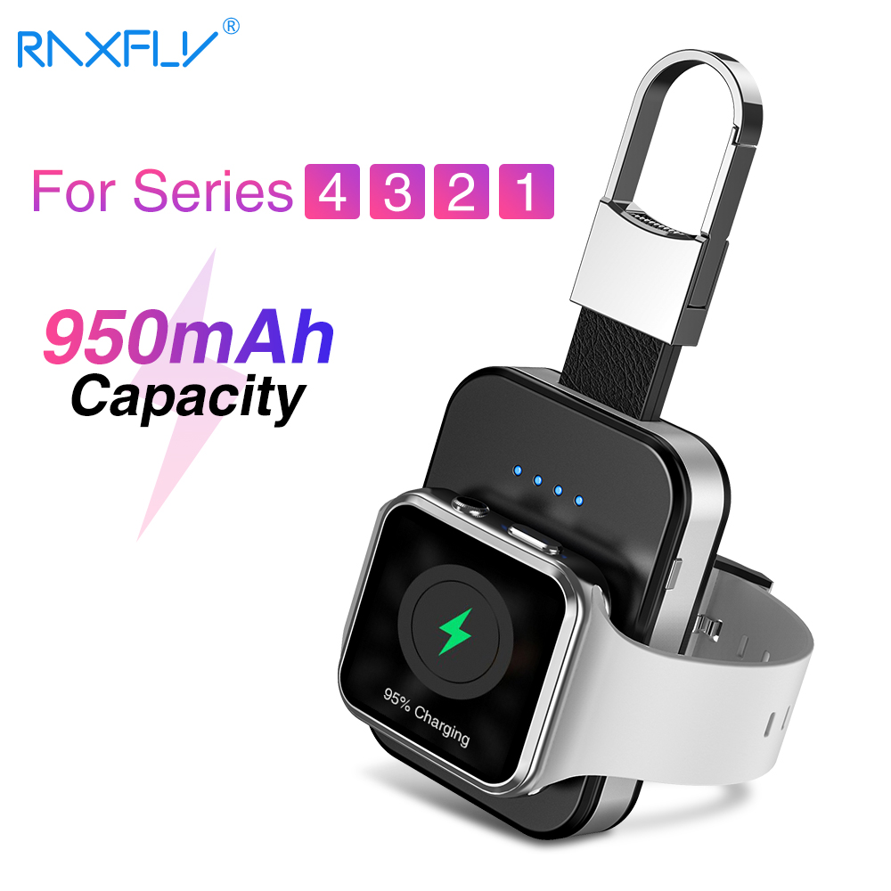 RAXFLY cargador inalámbrico para reloj de Apple 4 3 2 1 cargador rápido de carga inalámbrico Qi Para que ver portátil 950 mAh banco de potencia