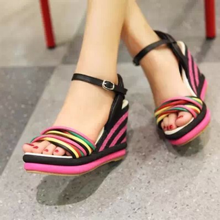 969e84b4556c gladiator sandals women 2018 women wedges sandals bohemia color block  decoration straw braid platform wedges women sandals 2015-in High Heels  from Shoes on ...