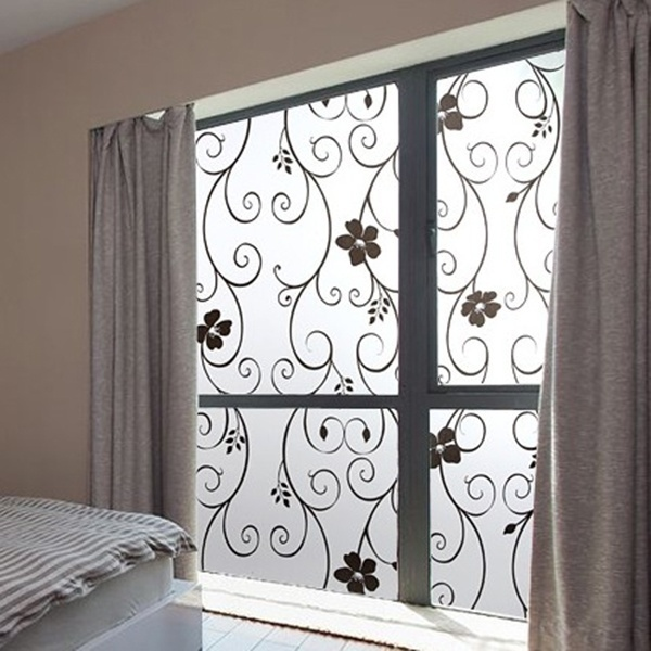 home frosted privacy cover glass window door black flower sticker film adhesive home decor wall. Black Bedroom Furniture Sets. Home Design Ideas