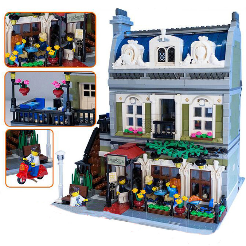 15010 Expert Street Series Parisian Restaurant Model Blocks Toys For Children Gifts Compatible Lepin City Building Blocks Set