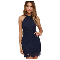 Women Elegant Sleeveless Lace Dress Wedding Party Sexy Night Club Halter Neck Sheath Bodycon Lace Dresses