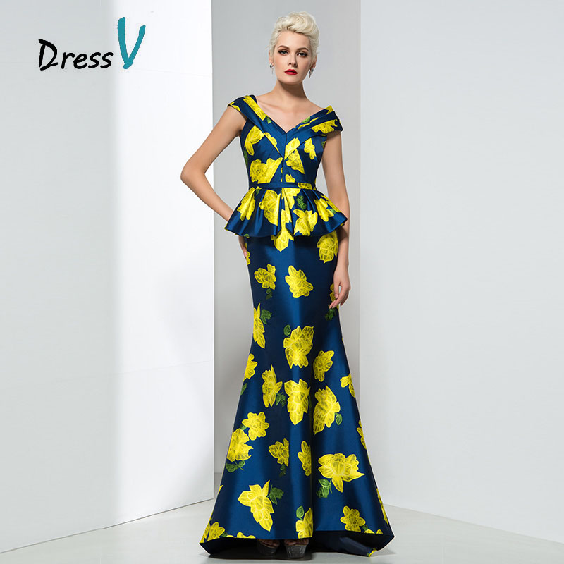 Aliexpress.com : Buy Dressv Yellow Flower Print Prom dress