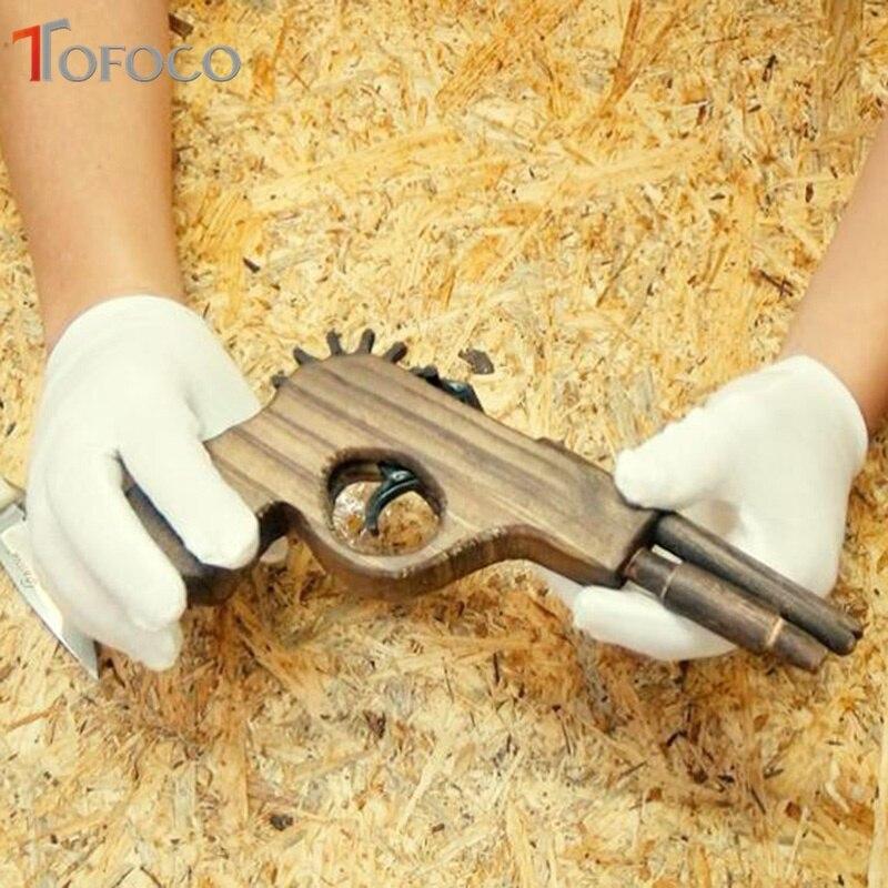 TOFOCO Wooden Rubber Band Gun Children 39 S Manual Pistol Gun Toy Revolver Kids Fun Outdoor Game Shooter Toys Safety in Wooden Blocks from Toys amp Hobbies
