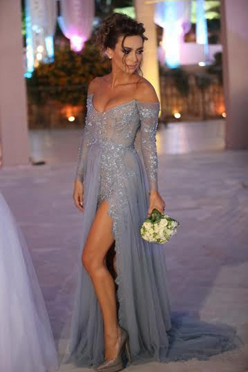 blue v neck long sleeve dress