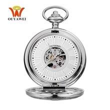 Top Brand  OYW Mechanical Hand Wind Pocket Watch Men Man Silver White Pocket Fob Watch Analog Clock Steampunk Men Hombre Relogio