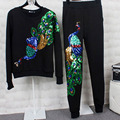 Toneladas de Trajes de Las Mujeres 2016 Nueva Moda Otoño Invierno de Terciopelo de Manga Larga de Las Mujeres 2 Unidades Set Pantalones Trajes de pavo real Con Lentejuelas + sudaderas Conjuntos