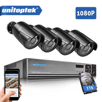 4CH 1080P 5 IN 1 CCTV DVR Recorder With 4Pcs HD 1080P AHD Bullet Cameras Waterproof