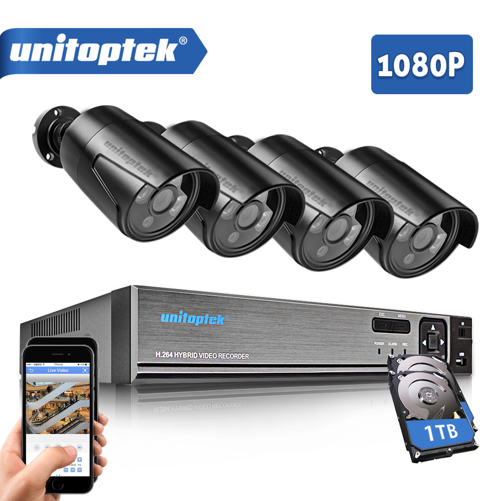 4CH 1080P 5 IN 1 CCTV DVR Recorder With 4Pcs HD 1080P AHD Bullet Cameras Waterproof Outdoor IR Video Security Camera System Kit china products waterproof ir bullet ip cameras for dvr outdoor security bullet cctv camera