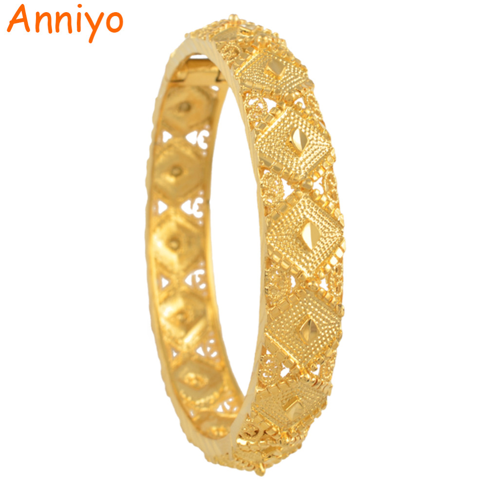 Anniyo Ethiopian Bangle Women Fashion Gold Color Dubai Bride Wedding Gift African Bracelet Arab Jewelry #045602 anniyo wholesale coin bracelet for women arab chain middle eastern gift gold color coins jewelry middle eastern wedding 048006
