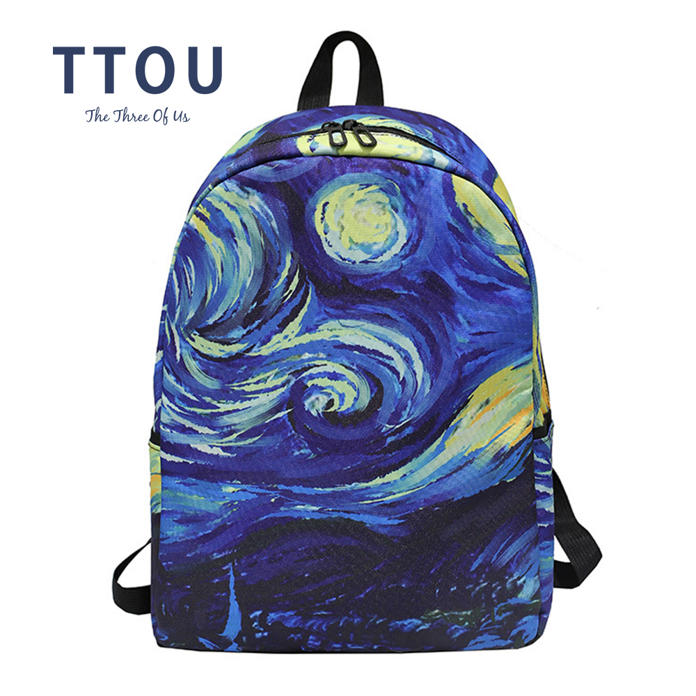 12.5x9x17.5 Holds 12.5-inch Laptop Van Goghs Paintings Student Backpacks College School Book Bag Travel Hiking Camping Daypack for boy for Girl