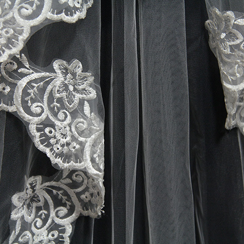 2019 Hot Sale Lace Wedding Veil 3 Meter Long Cathedral With Comb One Layer Tull Appliques Women Bridal Veils High Quality