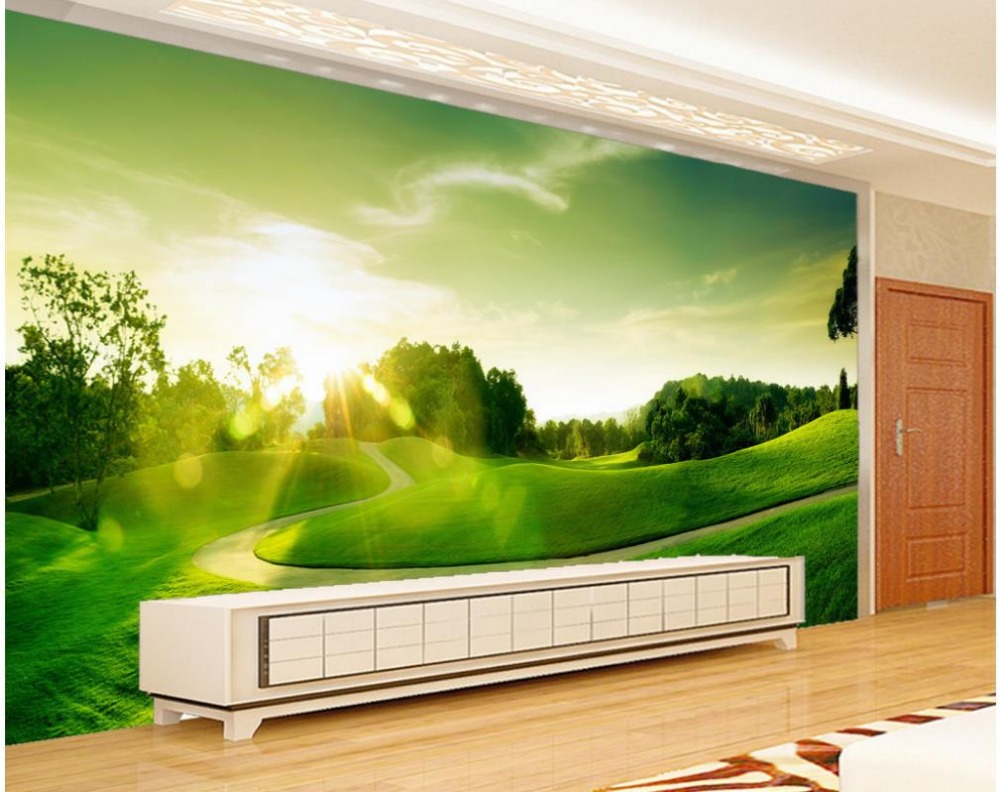 Home decoration 3d name wallpapers green golf grassland for Wallpaper home green