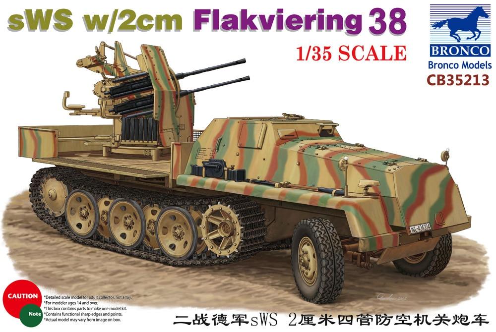 BRONCO CB35213 1/35 allemand sWS w/2 cm Flakviering 38BRONCO CB35213 1/35 allemand sWS w/2 cm Flakviering 38