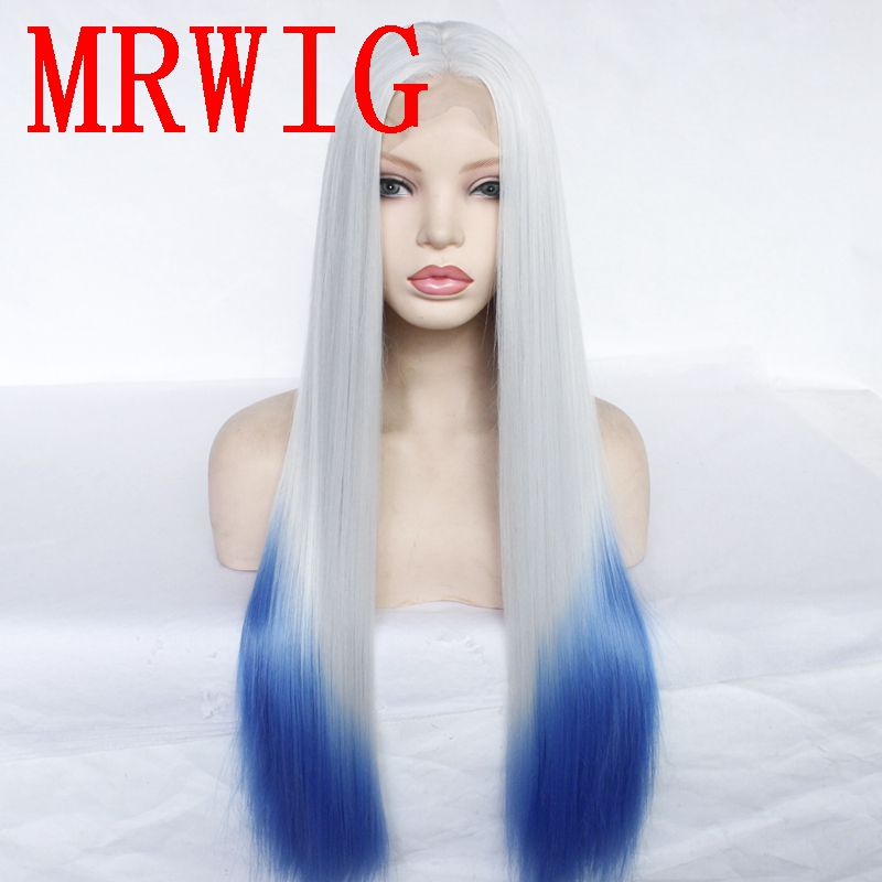 MRWIG Silver Grey Ombre Blue Middle Part Synthetic Lace Front Wig