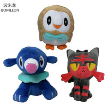 hot deal buy 18cm kawaii rowlet/popplio/litten stuffed plush dolls game elfin plush animals toys kids toys boys birthday chirsmas gifts