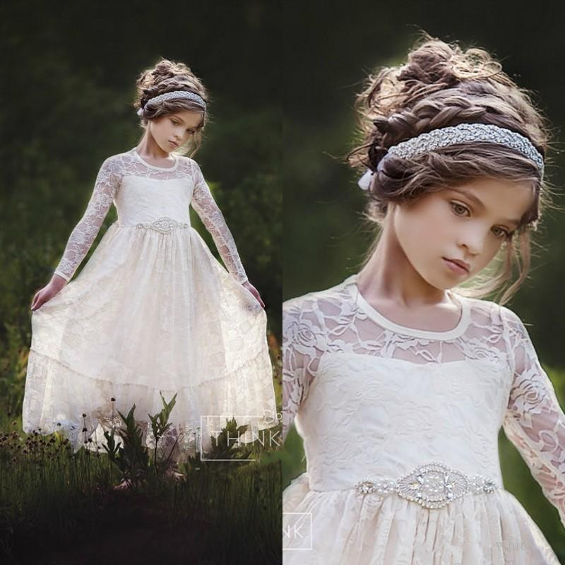 2018 Cute Lace Flower Girls Dresses For Weddings Long Sleeves Floor Length A Line First Communion Dresses with Beaded Sash cute new long sleeves white ball gown flower girl dresses french lace beaded first communion dress with sequin bow and sash