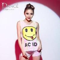 Modern dance clothes adult paillette hiphop jazz dance costume female clothes vest shorts