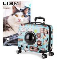 Portable Pet Cat Dog Trolley Case Carrier Backpack Breathable Astronaut Transparent Bag Cat Strollers Outdoor Travel Bags Cage