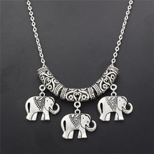 Купить с кэшбэком WUSQWSC New Ethnic Indian Bohemian Style Silver Plated Elephant Pendant Necklace National Style Art Accessories