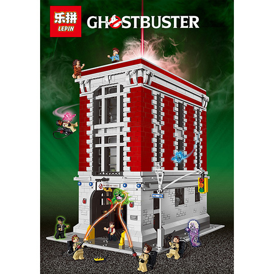In stock LEPIN 16001 Actuals 4705Pcs Ghostbusters Firehouse Headquarters 75827 Model Building Kits Model set Toys For Children lepin 16001 4705pcs city street series ghostbusters firehouse headquarters building block bricks kids toys for gift 75827