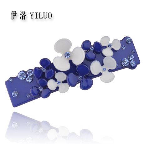 Women Hair Accessories Vintage Rhinestone Barrette Cellulose Acetate Boutique Flower Hair Clip 8.5cm Long metting joura vintage bohemian green mixed color flower satin cross ethnic fabric elastic turban headband hair accessories