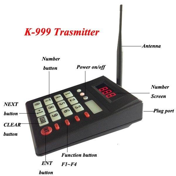 Système de client d'appel de cuisine pour ramasser le clavier de nourriture avec l'écran à 2 chiffres montrent 999 personnes (2 affichage + 2 clavier d'émetteur) - 6