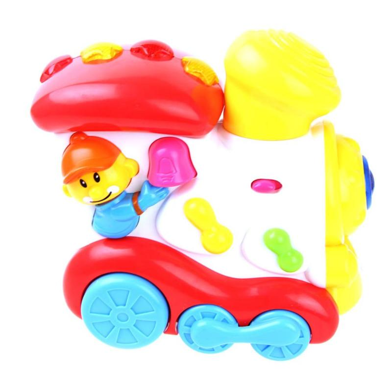 Puzzle Electric Train Car RC Music and Lights Cartoon Cars Model Happy Trains Children Kids Educational Toys Gifts