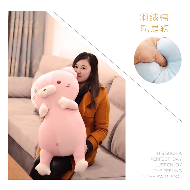 big plush cartoon cat toy cute stuffed pink cat doll pillow gift about 75cm big plush whale toy big head white foam dolphin doll pillow gift about 70cm