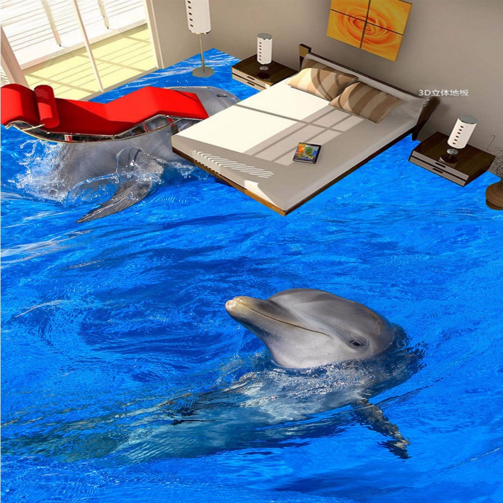 Free Shipping High Quality 3D Dolphin Playing Water Flooring Sticker Painting Self-adhesive Non-slip Floor Wallpaper Mural