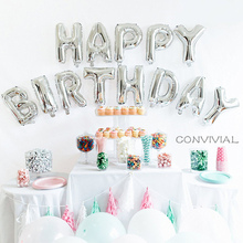 13pcs/lot 16 inch Rose Gold Happy Birthday letter Foil balloons Adult Baby Party Decor Supplies Alphabet Air Banner