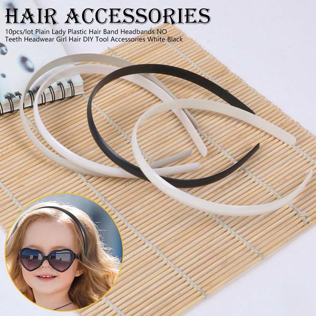 10pcs/lot Plain  DIY Tool Accessories White Black Lady Plastic Hair Band Headbands NO Teeth Headwear Girl Hair