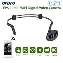Ship in 1 Day Original ORDRO EP5 Bluetooth 4 .0 Hand Free Head Band Action Mini DV Camera Consumer Camcorders with earphone WiFi