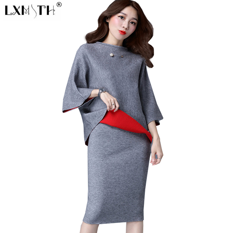 3XL two piece Sweater Skirt Set Women Elegant Skirt Suits Midi Skirt+Pullover Knitted 2 pcs Set Women Skirt Sets Big Size
