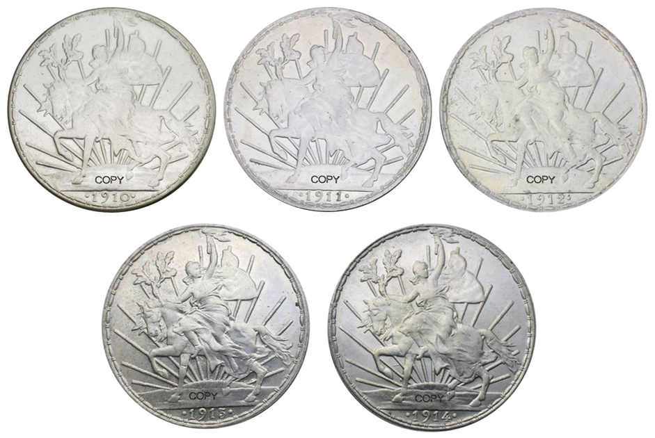 Nited States of Mexico in 1910 1911 1912 1913 <font><b>1914</b></font> 5pcs the heavy Mexico silver wildebeest silver plated brass replica coins image