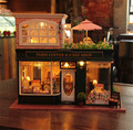 Большой DIY кукольный домик миниатюрный с легкой музыки прекрасный сборки модели париж кафе день святого валентина подарки творческий DIY игрушки