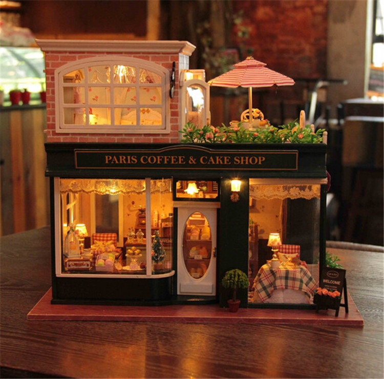 large DIY dollhouse miniature with light music lovely assembly model paris coffee shop Valentine s Day