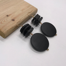 Kara&Kale Boho Fashion Jewelry Round Black Wooden Beads Dangle Earings Vintage Gold Long Earrings For Women ED026