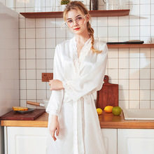 Night gown Women Sexy Long Silk Kimono Dressing Gown Lace Bath Robe Babydoll bathrobe spring womens clothing 2019