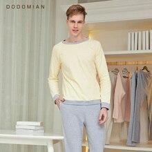 DO MIAN chándal hombres Conjunto de pijama suelto Casual ropa de dormir de algodón suelta ropa de casa camisas de noche + pantalón inferior