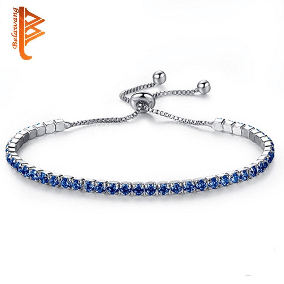 New Fashion Adjustable Tennis Bracelet For Women Blue Cubic Zirconia Chain Link Bracelet Wedding Engagement Jewlery
